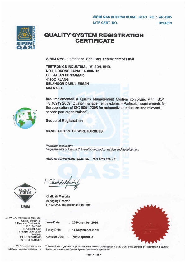 TS 16949. 2009 Certificate_001 wire harness manufacturer in malaysia wire harness manufacturers in malaysia at n-0.co